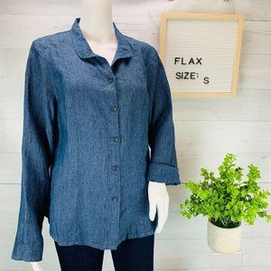 Flax Long Sleeve Blue Button Front sz S